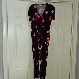 NWOT Old Navy burgundy floral jumpsuit SMALL